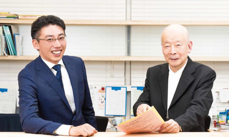 会長・齋藤友紀雄と事務局長・時盛昌幸の写真